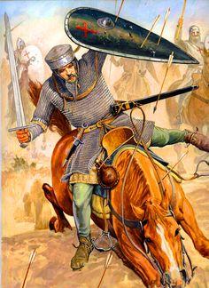 Knight Hospitaler under muslim arrow fire