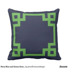 Navy Blue and Green Greek Key Border