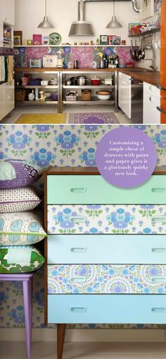 Modgepodge fabric or paper to dresser drawers or to wall to make a headboard!