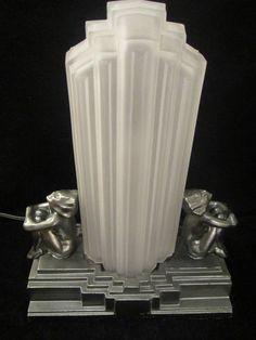 1930s Original Frankart L-233 Jazz Age Nude Nymph Art Deco Lamp Skyscraper Shade
