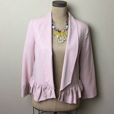 Anthropologie Cartonnier jacket Super cute contrast fabric lined jacket with ruffle trim  100% tencel. Lining: 100% cotton freshly dry cleaned Anthropologie Jackets & Coats