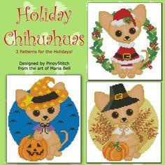 Holiday Chihuahuas Printed Cross Stitch Chart (Dogs) #PinoyStitch