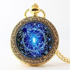 Stained Glass Blue Magic Circle Pocket Watches-Vintage Quartz Watch Fob,Sakura Magic Gift For Him Her+Gift Box Glasmalerei Bronze Taschenuhren-Steampunk Blue Magic Round Quartz Pocket Watch, Quartz Watch, Cool Watches, Watches For Men, Cheap Watches, Women's Watches, Wrist Watches, Magical Jewelry, Pocket Watch Necklace