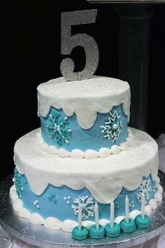 Cool cake at a Frozen birthday party! See more party planning ideas at CatchMyParty.com!