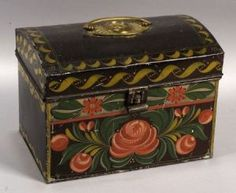 Painted Tinware Dome-top Trunk