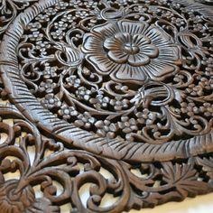 Relief Wandbildrelief Teak Holz Wandbild Blüten eckig 60x60cm