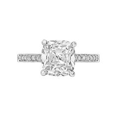Cushion-Cut Diamond Platinum Engagement Ring GIA Cert | From a unique collection of vintage engagement rings at https://www.1stdibs.com/jewelry/rings/engagement-rings/