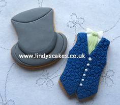 Top hat and waistcoat cookies decorated by Lindy Smith