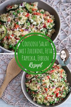 Couscous salad with zucchini, feta, peppers and peas recipe - MakeItSweet.de - Couscous salad zucchini peas paprika feta recipe vegetarian simply quickly as a main course side di - Pea Salad Recipes, Pea Recipes, Detox Recipes, Fruit Recipes, Vegetarian Recipes, Healthy Recipes, Healthy Food, Zucchini Lasagne, Summertime Salads