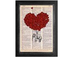 Elephants Fly with Love - printed on Recycled Vintage Dictionary Paper - 8x10.5. $10,00, via Etsy.