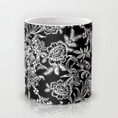 Full Moon Tea Mug by Vikki Salmela #new #black #white #English #tea #garden #floral #art on #mugs #cups for #home #decor #apartment #gift by Polka Dot Studio.