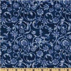 108'' Tonal Scroll Quilt Backing Blue