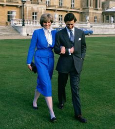 Prince Charles and Lady Diana's Engagement: Just 20 years old, Lady Diana Spencer donned a blue suit off the rack from Harrod's when she and Prince Charles, then 32, announced their engagement in the garden at Buckingham Palace on February 24, 1981.
