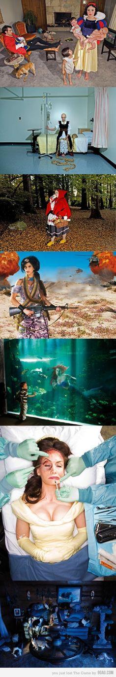 'Fallen princesses', Dina Goldstein La vita triste delle principesse Disney. Dina Goldstein è una fotografa israeliana. Il suo progetto ritrae le protagoniste delle favole quando la fiaba finisce, in una deprimente realtà.