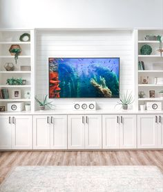 Bookcase In Living Room, Tv Bookcase, Living Room Built Ins, Ikea Billy Bookcase Hack, Living Room Wall Units, Ikea Living Room, Living Room Designs, Ikea Tv Wall Unit, Built In Tv Cabinet