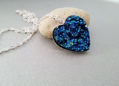 Silver long heart necklace faux druzy silver by MKedraDecoupage, $17.00