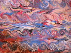 TRADITIONAL MARBLING PATTERN:FRENCH CURLS (Painting),  35x50 cm Nihan Büyüksezer tarafından TRADIONAL MARBLING PATTERN.