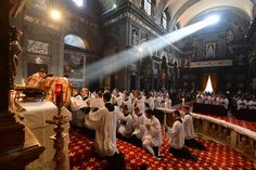 A beam of sunlight poured into the church during the reception of cassocks at the church of Sts. Michele e Gaetano in Florence -Institute of Christ the King Sovereign Priest