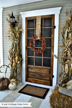 Screen door is from Lowes. Love this! Gorgeous fall entry, but that door....
