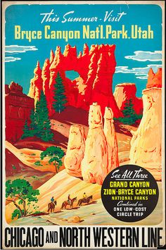 Bryce Canyon Mixed Media - This Summer - Visit Bryce Canyon National Par, Utah, Usa - Retro Travel Poster - Vintage Poster by Studio Grafiikka Old Poster, Retro Poster, Poster Ads, Advertising Poster, Poster Prints, Art Posters, Art Prints, Bryce National Park, National Park Posters