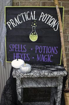 Practical Potions Halloween Sign -- Cast a spell on Halloween décor with a potions sign.  #decoartprojects