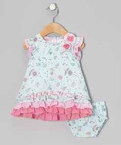 Take a look at this Beetlejuice London Blue Floral Ruffle Dress - Infant, Toddler & Girls on zulily today!