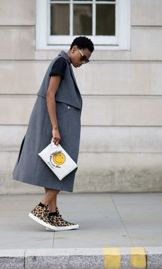 Donna Wallace Proving that the simplest outfits are the most striking, this combo of leopard sneakers and gigantic dark-gray vest lands Donna in the third spot. Photo: YoungJun Koo/I'M KOO
