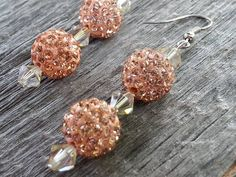 Handmade Disco Style Dangle Earrings-Clay and Crystal Beads in Champagne and Swarovski Luminous Crystals by JoeisStuff on Etsy