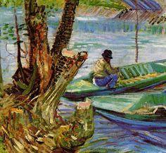 Fishing in the Spring, Pont de Clichy, 1887. Detail Van Gogh