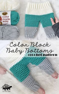 Crochet baby pants pattern : Color Block Baby Bottoms crochet pattern by The Turtle Trunk Made with Lion Brand Yarn Color Made Easy Crochet Bebe, Crochet For Boys, Free Crochet, Crochet Lion, Crochet Baby Pants, Booties Crochet, Crochet Baby Clothes Boy, Crochet Baby Sweaters, Crochet Baby Stuff