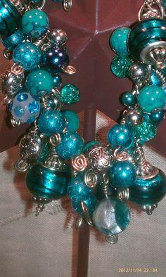 Teal+Lampwork+Glass+Bead+Charm+Bracelet+Chunky+by+TrinketsbyJess,+$45.00