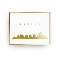 Manaus Print Manaus Skyline Real Gold Foil Print Manaus