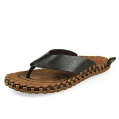 New Fashion Summer Flip Flops Genuine Leather Casual Beach Sapato Masculino Flatform Sandalhas Black Brown Khaki Size 37 to 45