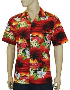 Men's Sunset Aloha Island Cotton Shirt Red #FA-04311