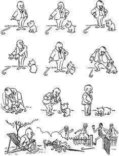 Training. Vintage cartoons by the Danish artist Herluf Bidstrup.