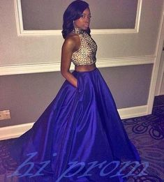 Royal Blue Prom Dresses,2 Piece Prom Gown,Two Piece Prom Dresses,Satin Prom Dresses,New Style Prom Gown,2016 Prom Dress