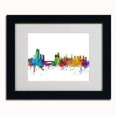 "Trademark Art 'Leeds England Skyline II' by Michael Tompsett Framed Graphic Art Size: 11"" H x 14"" W, Frame Color: Brown"