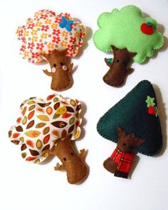 Four Seasons Tree Felt Plushie magnet set Felt Diy, Felt Crafts, Fabric Crafts, Sewing Crafts, Sewing Projects, Diy Crafts, Manta Animal, Crafts For Kids, Arts And Crafts