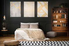 #lakberendezes #otthon #otthondekor #homedecor #homedesign #furnishings #design #furnishingideas #housedesign #decor #decoration #interiordesign #interiordecor #interiores #interiordesignideas #interiorarchitecture #interiordecorating #homedecoration #homedecorationideas #homedecorideas #monochromedesign #monochromelivingroom #monochromebedroom #monochromeinterior #monochromehome #monochromekitchen #blackandwhitedecor #blackandwhiteinterior Antique Bookcase, Wooden Bookcase, Clean Bedroom, Modern Bedroom, Monochrome Bedroom, Monochrome Interior, Black And White Interior, Top Paint Colors, Ottoman Bed