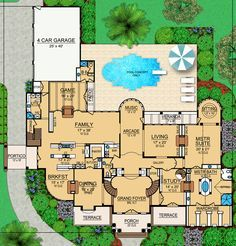 All the Bells and Whistles - floor plan - Main Level Dream House Plans, House Floor Plans, My Dream Home, Barrel Vault Ceiling, Two Sided Fireplace, Mediterranean House Plans, Grand Foyer, Ceiling Treatments, Walk In Pantry