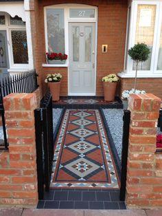 Floor Design, Tile Design, Landscape Design, Garden Design, Victorian Tiles, Garden Path, House Front, Mosaic Tiles, Restore