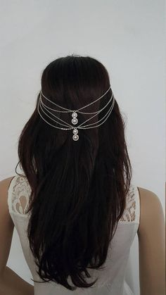Pearl Drop Headchain. Boho headpiece wedding hair jewellery.