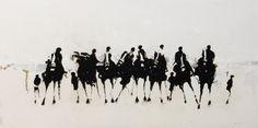 "Geoffrey Johnson, ""Study of Eight Horses"" - 12x24, Oil on Panel -- Principle Gallery Charleston"