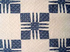 Detail, Antique Handmade Quilt Mid 1800s Mystery Block Indigo White RARE Pattern | eBay, i_spy_design