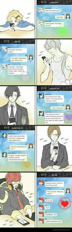 Yoosung, Zen, Jumin, Jaehee, 707, cellphones, chatroom, messages, text, MC; Mystic Messenger