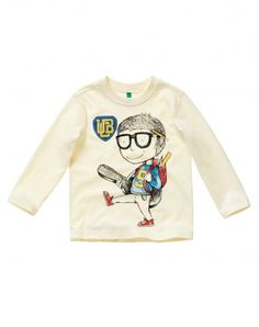 T-shirt with patch White - Boys | Benetton