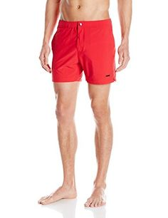 parke  ronen Mens Naples Solid 5Inch Stretch Swim Short Houston RedStone XLarge -- Read more  at the image link.
