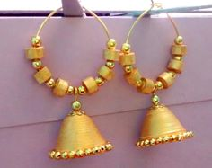 Traditional Quilling Earrings | Quilling - Paper made Ring Jhumka in Golden colour