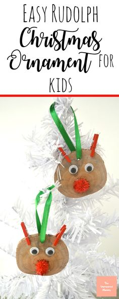 This Rudolph Christmas ornament is easy enough for kids of all ages to make. #Christmas #Christmasornament #rudolph