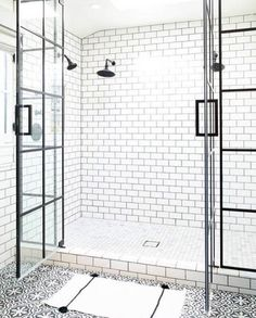 White Subway Tile Bathroom With Patterned Bathroom Floor White Subway Tile Shower, White Tiles, White Shower, Black Tiles, Black Grout, Subway Tile Showers, White Marble, Beautiful Bathrooms, White Bathrooms